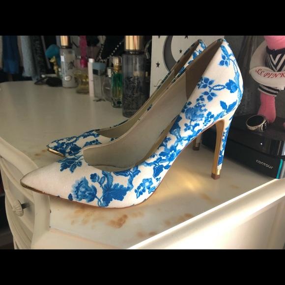 Ted Baker Satin Blue Floral Heels